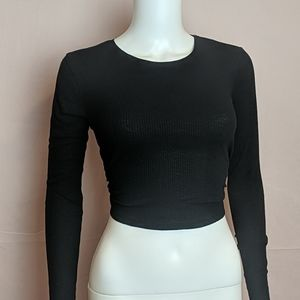 Pull&Bear Backless Ribbed Crop Top